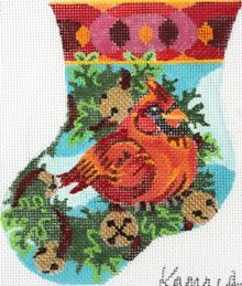 Jolly Cardinal needlepoint mini stocking  - Canvas Only