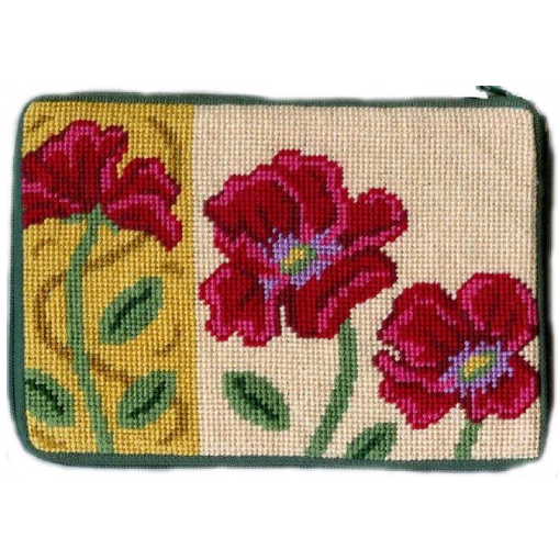 red poppies needlepoint purse by stitch and zip