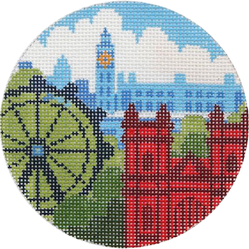 Rooftops of London Needlepoint Ornament
