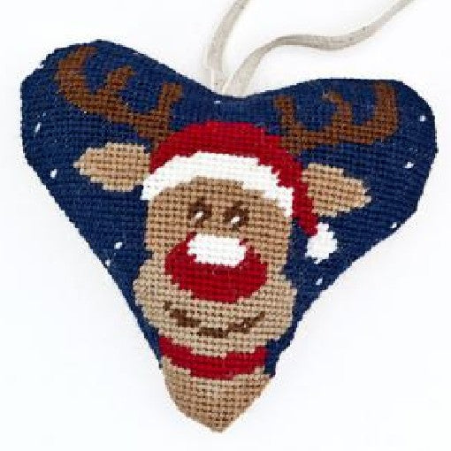 Needlepoint Heart Ornament Kit Rudolph