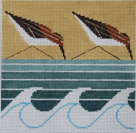 Charley Harper Needlepoint TWO Sanderlings  - Canvas Only