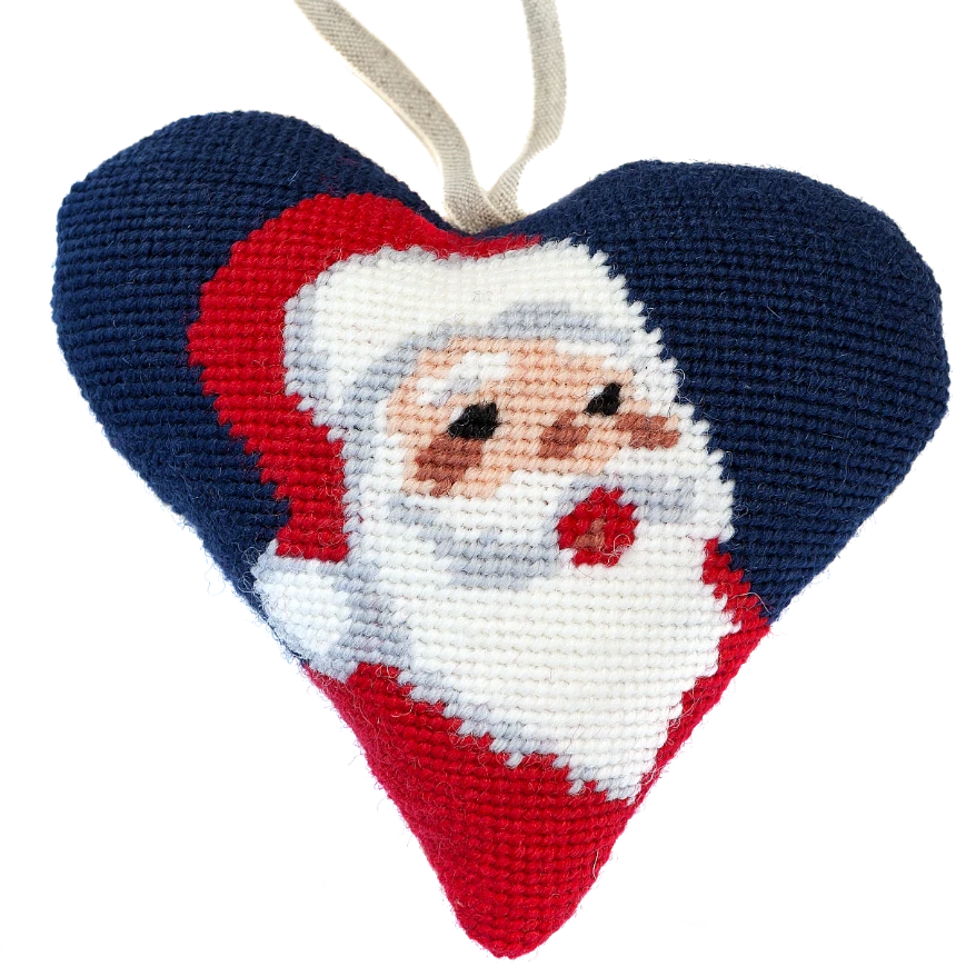 Santa Needlepoint Heart Ornament