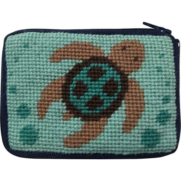 Beginner Needlepoint Kit Coin Purse Sea Turtle