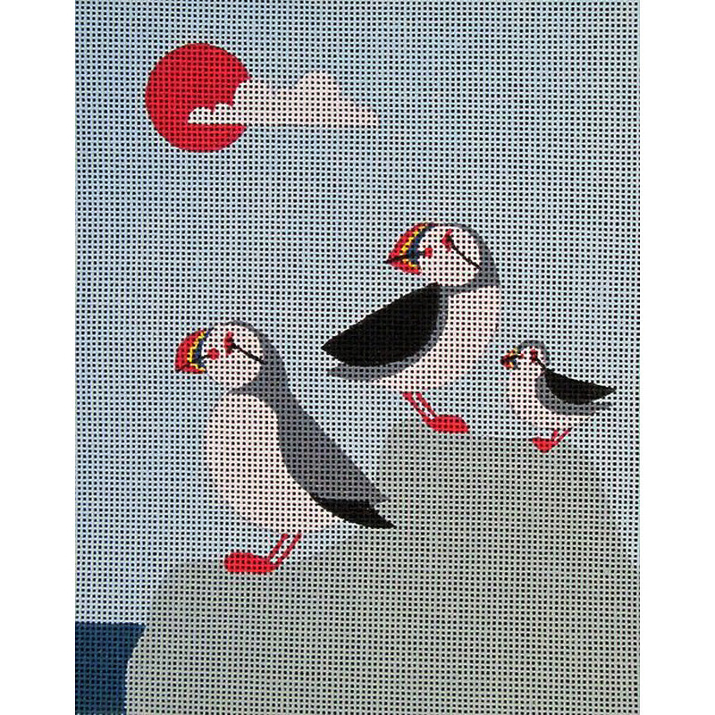 Puffin Family Needlepoint
