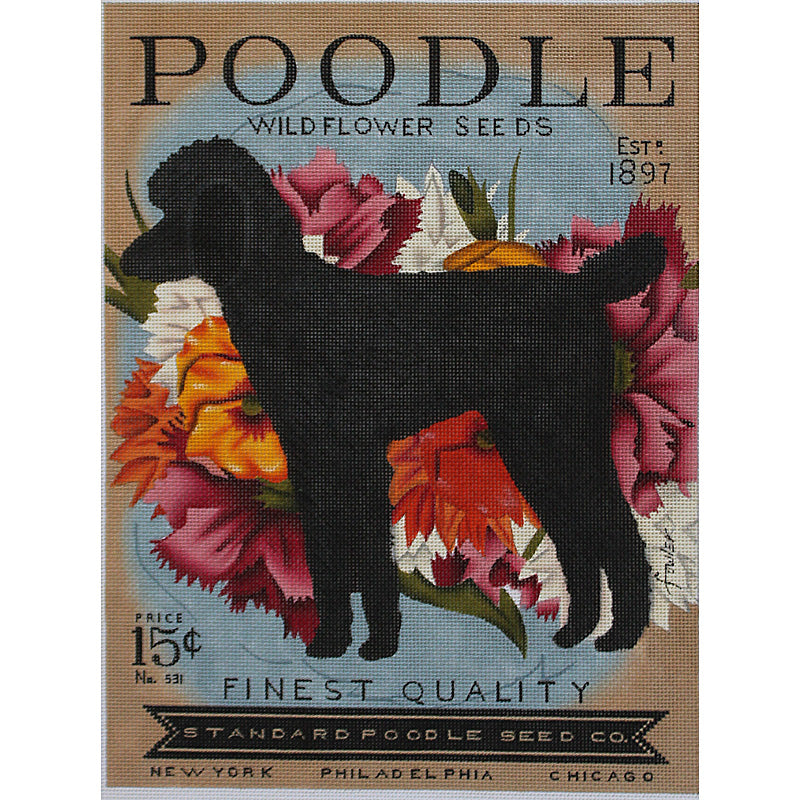 Seed Co. Standard Poodle Needlepoint by Stephen Fowler