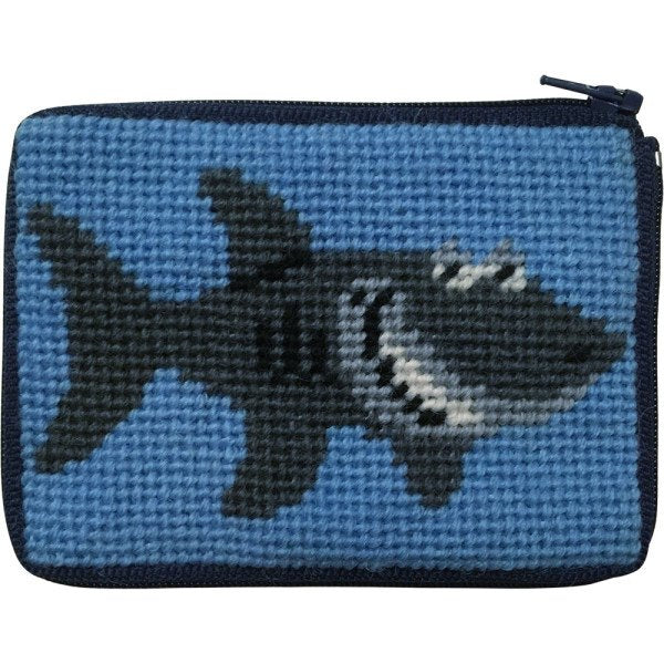 Beginner Needlepoint Kit Coin Purse Shark
