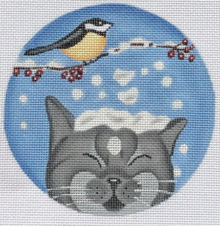 Needlepoint Christmas Ornament Snowy Cat - Canvas Only
