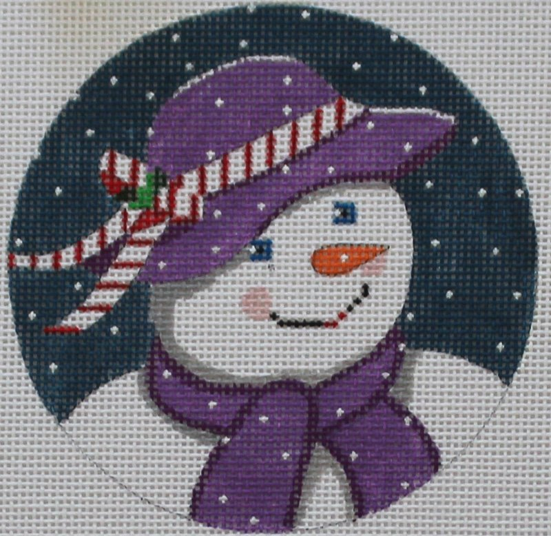 Purple Snowman needlepoint ornament by Purple Palm