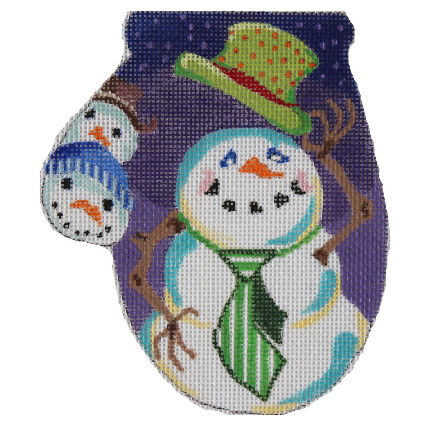 Snowman with Top Hat Mini Mitt needlepoint by Julie Mar
