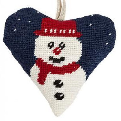 Needlepoint Heart Ornament Kit Snowman