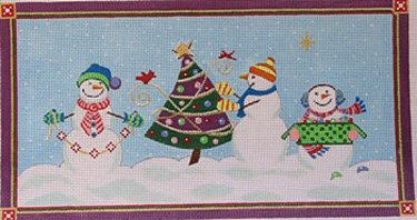 Trio of Snowmen Decorate the Tree - in stock - Canvas Only