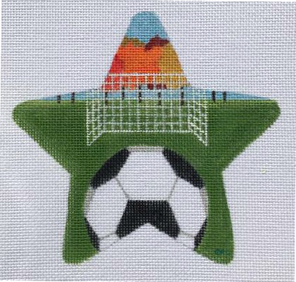 Soccer Needlepoint Star Ornament  - Canvas Only