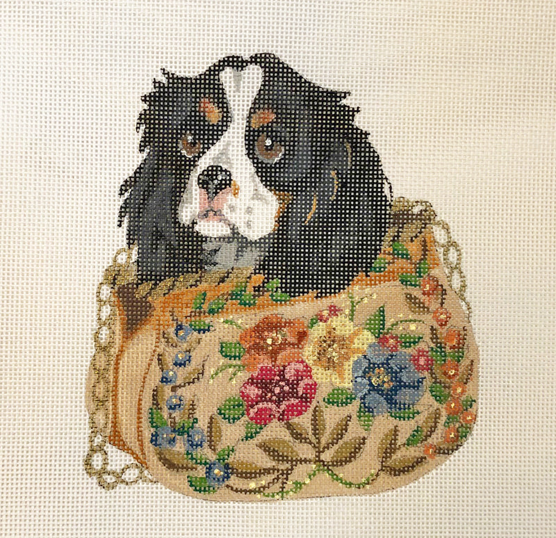 Spaniel puppy in purse