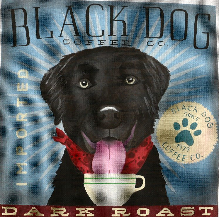 Black Lab Dog Needlepoint by Stephen Fowler - 13 mesh - Canvas Only