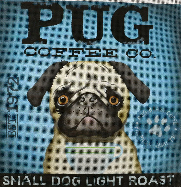 Pug Dog Needlepoint by Stephen Fowler - Canvas Only