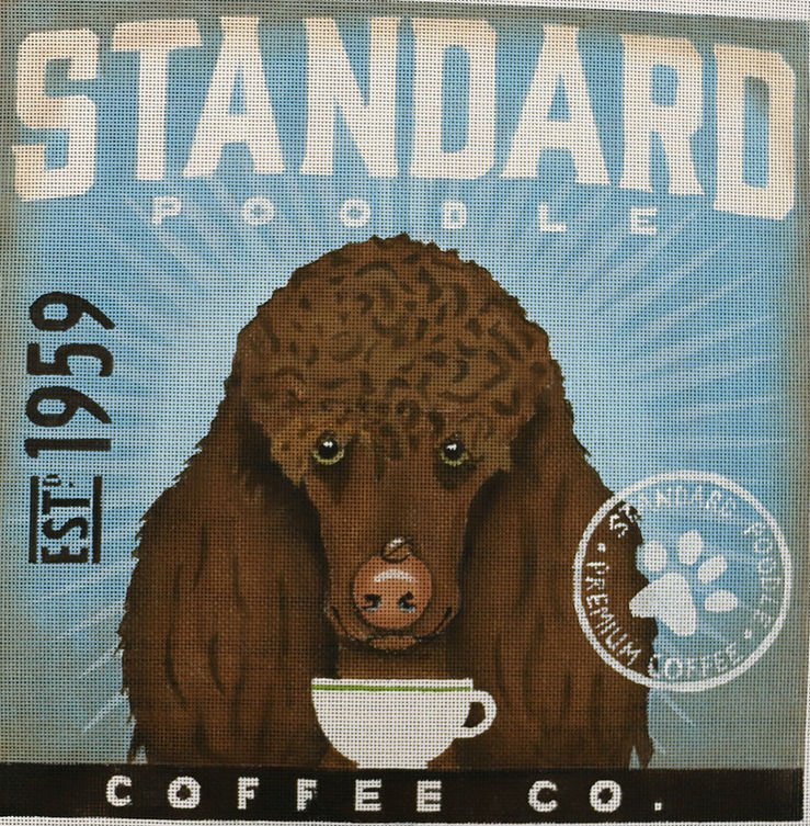 Brown Standard Poodle Needlepoint by Stephen Fowler - Canvas Only