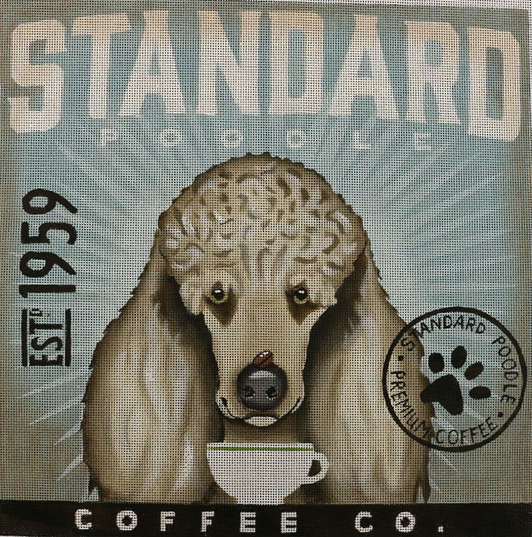 White Standard Poodle Needlepoint by Stephen Fowler - Canvas Only