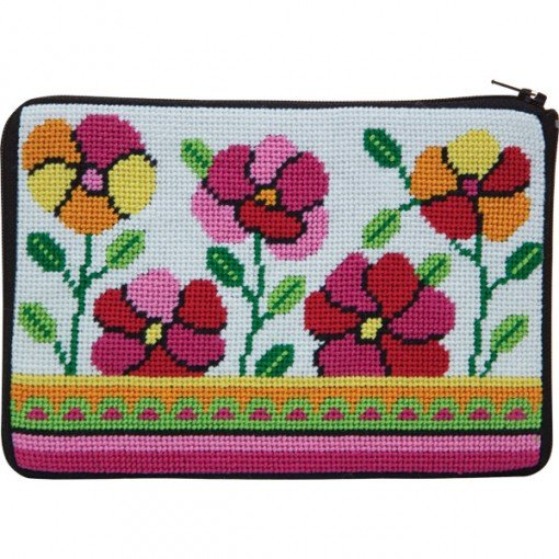 Stitch & Zip Needlepoint Purse Pink and Orange Poppies