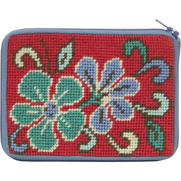 Stitch & Zip Coin Purse Red Asian Floral