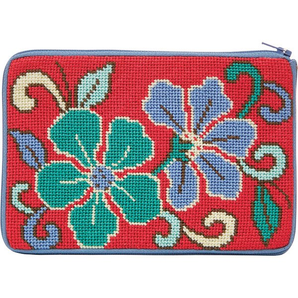Stitch & Zip Needlepoint Purse Red Asian Floral