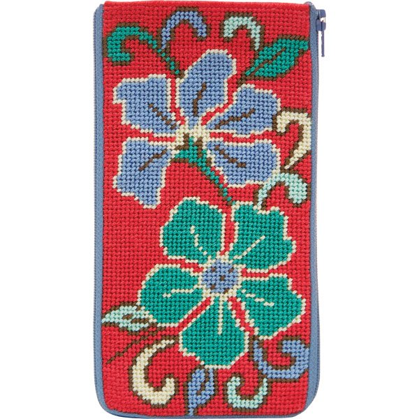 Stitch & Zip Eyeglass Case Red Asian Floral