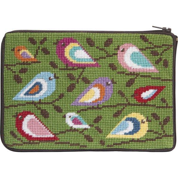 Stitch & Zip Needlepoint Purse Birds of Color