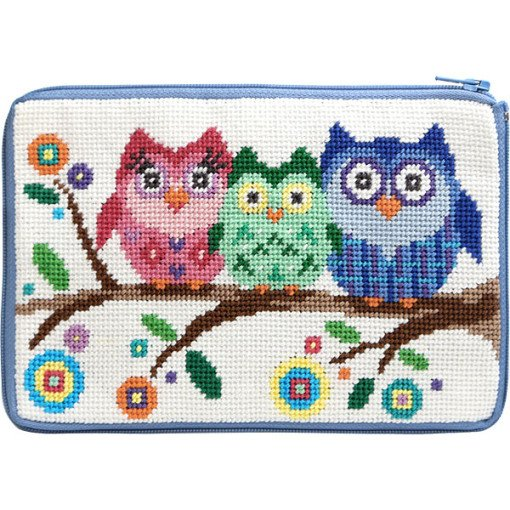 Stitch & Zip Needlepoint Purse Owls