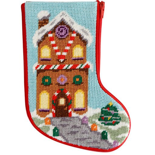 Needlepoint Mini Stocking Gingerbread House