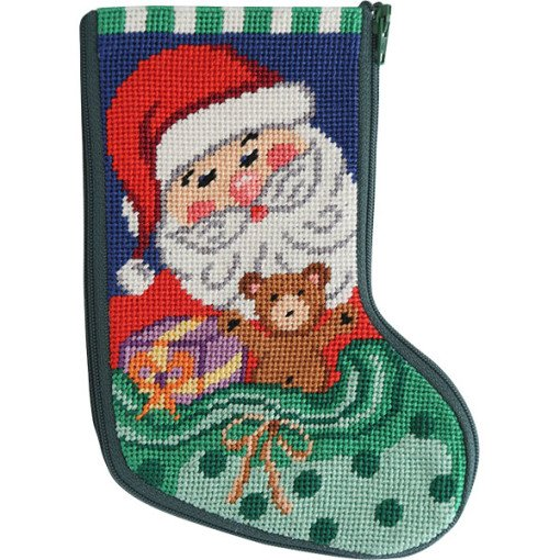 Needlepoint Mini Stocking Kit Santa Toys