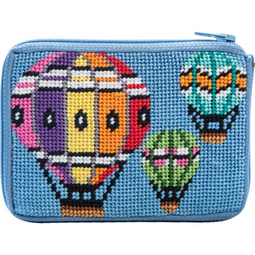 Stitch & Zip Needlepoint Kit Coin Purse Balloons in Flight