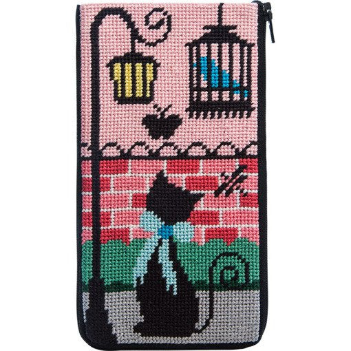 Stitch & Zip needlepoint Eyeglass Case Kitty Kat