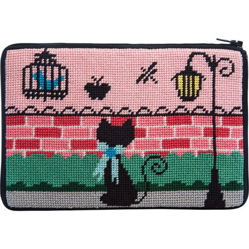 Stitch & Zip Needlepoint Purse Kitty Kat