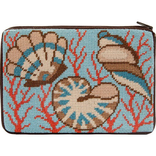 Stitch & Zip Needlepoint Purse Shells & Coral