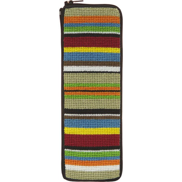 Stitch and Zip Needlepoint Kit Half Specs Case Stripes