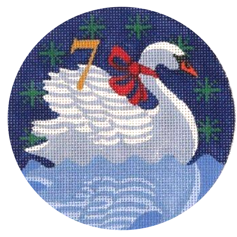 7 Swans A Swimming Needlepoint Ornament by Julie Mar
