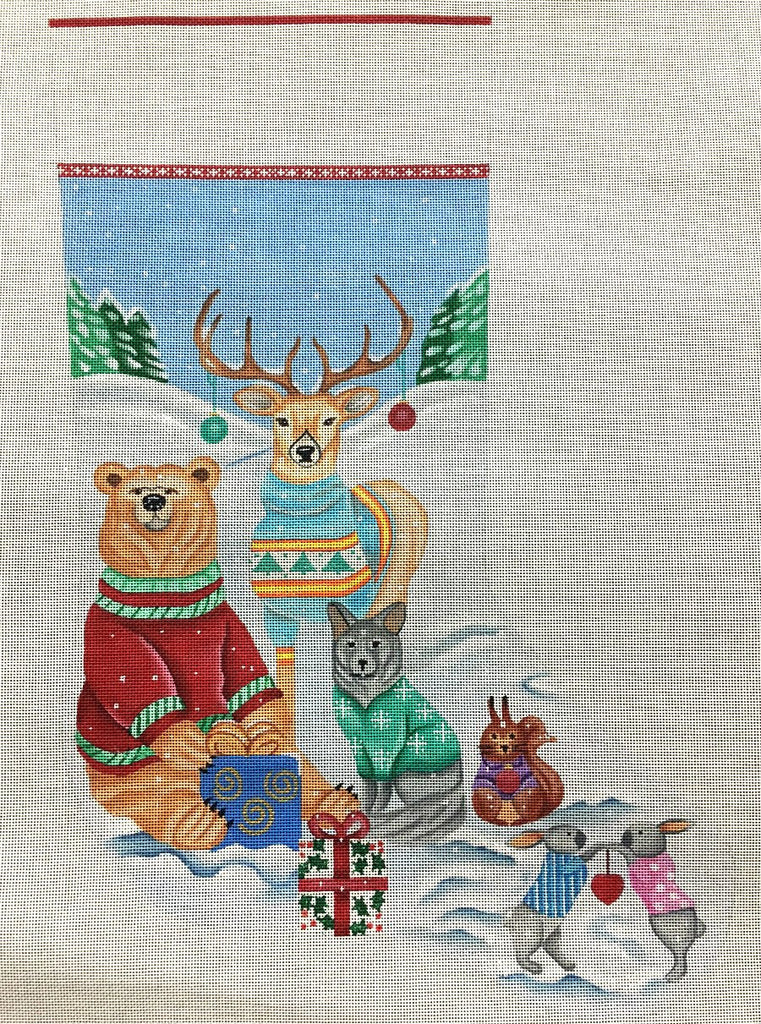 Sweater Friends Needlepoint Christmas Stocking  - Canvas Only