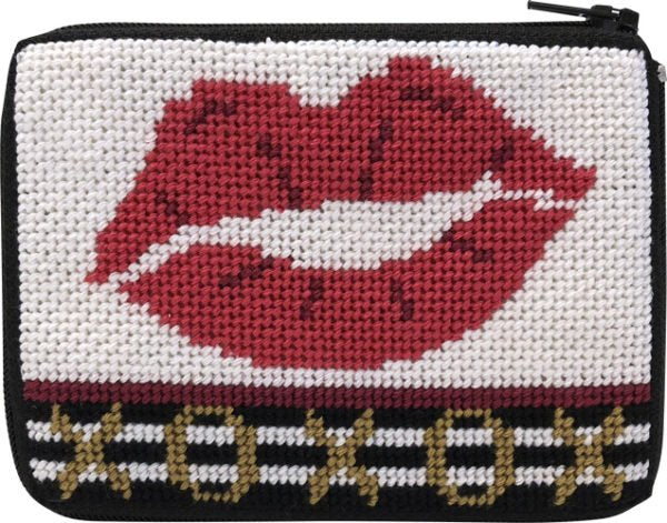 Stitch & Zip Coin Purse XOXO Lipstick