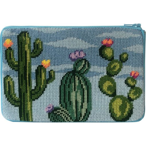 Stitch & Zip Needlepoint Purse Flowering Cacti