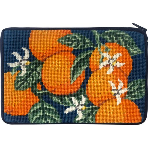 Stitch & Zip Needlepoint Purse Oranges