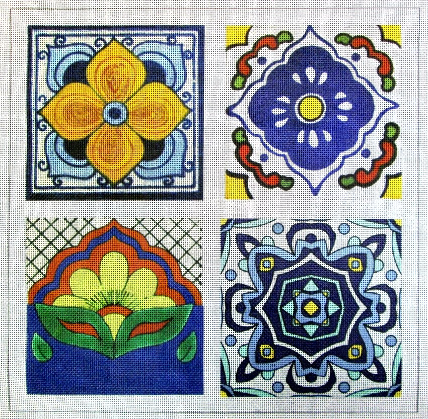 Talavera Tile #1 Needlepoint - Canvas Only