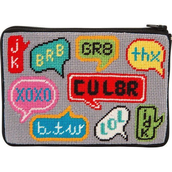 Stitch & Zip Needlepoint Cosmetic Purse Texting