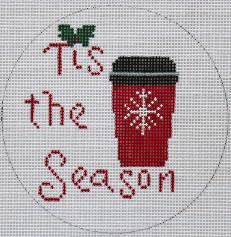 Tis The Season needlepoint Christmas ornament by Valerie VNG