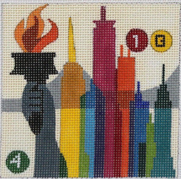 New York needlepoint coaster travel square by Melissa Prince