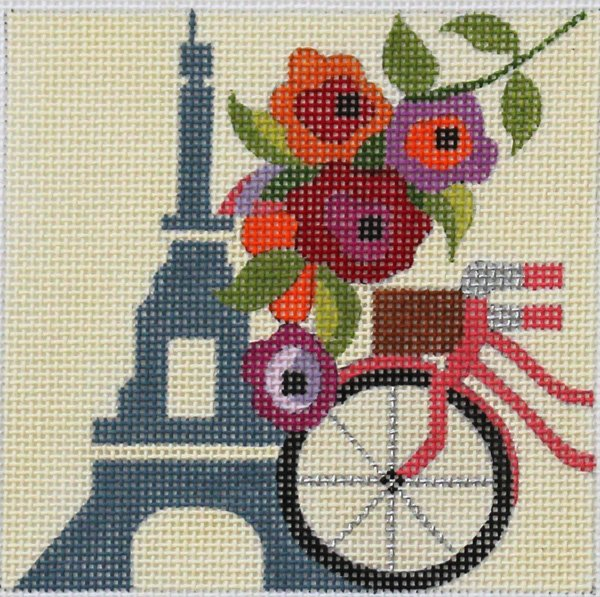 Paris needlepoint travel square Melissa Prince