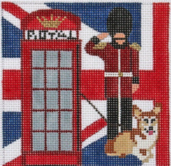London Travel Square needlepoint by Melissa Prince