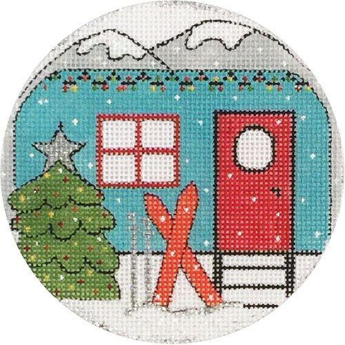 Travel Trailer and Skis Ornament - Canvas Only