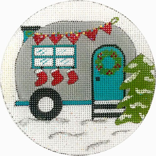 Travel Trailer and Stockings needlepoint ornament by Alice Peterson