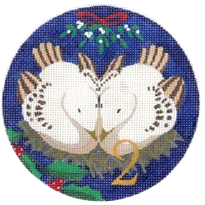 2 Turtle Doves Needlepoint Ornament by Julie Mar
