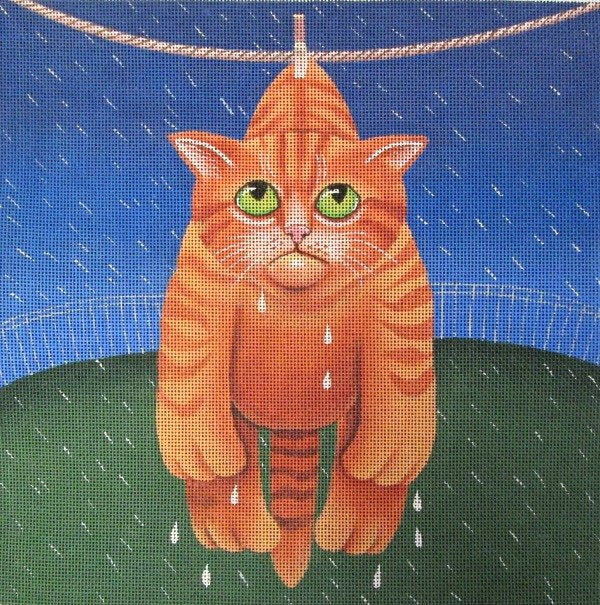 Vicky Mount Needlepoint<BR>Drying in the Rain - Canvas Only