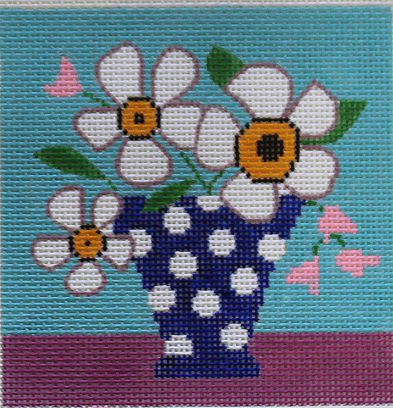 Blue Vase Needlepoint by Amanda Lawford